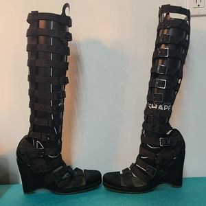 Chanel Runway Gladiator Wedge Strappies